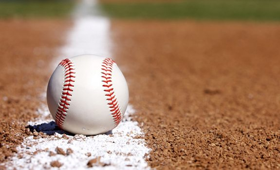 baseball on baseline
