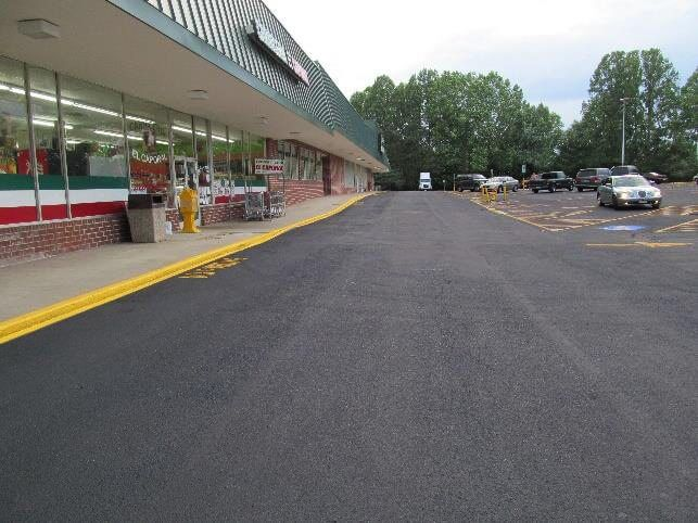 smooth parking lot in shopping plaza