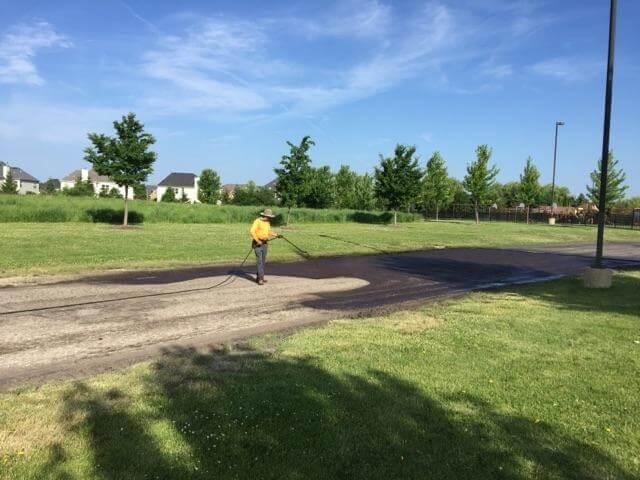church asphalt pavement project in progress