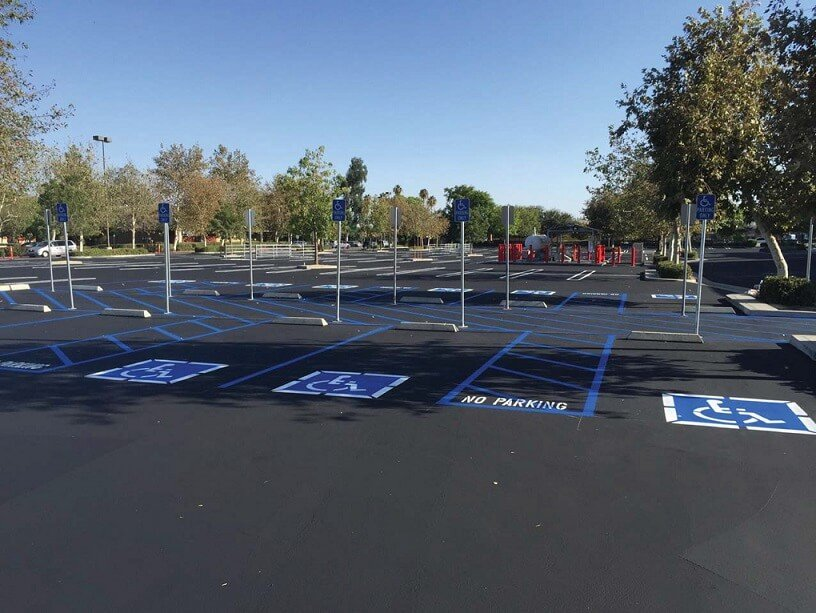 striped and ADA-compliant parking lot