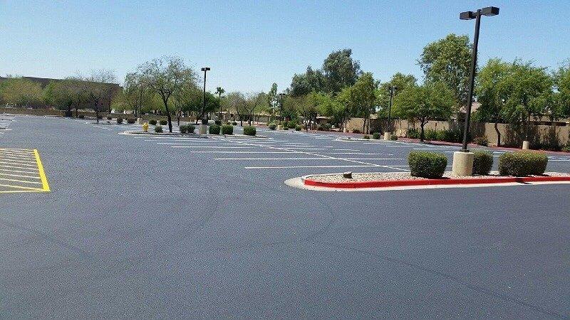 empty kohls parking lot after sealer