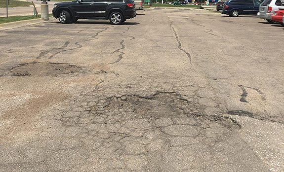 potholes in parking lot