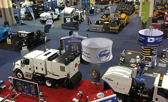 trade show floor at paving expo