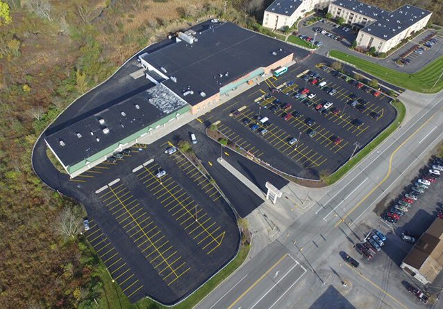 Aerial view of supermarket parking lot