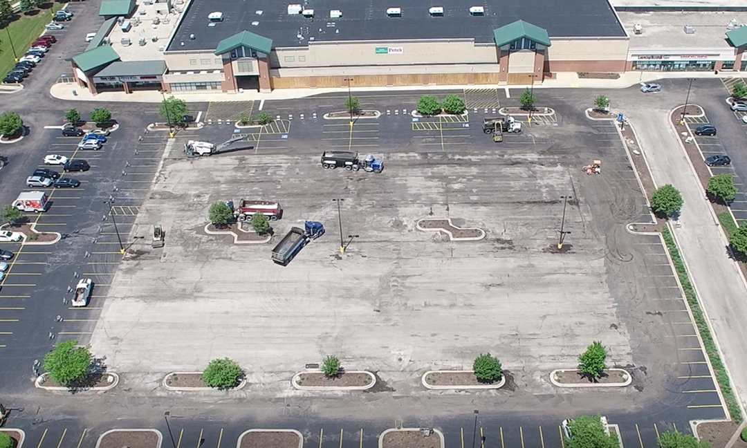 parking lot before structural repairs