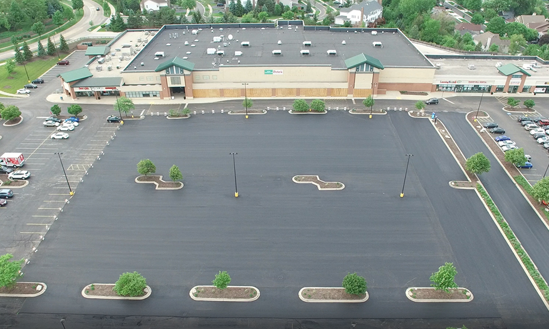 after photos of restructured parking lot