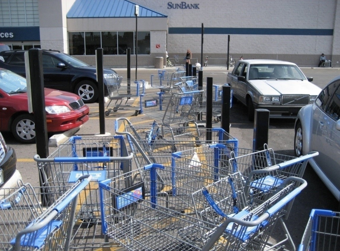 shopping carts piled up in parking lot
