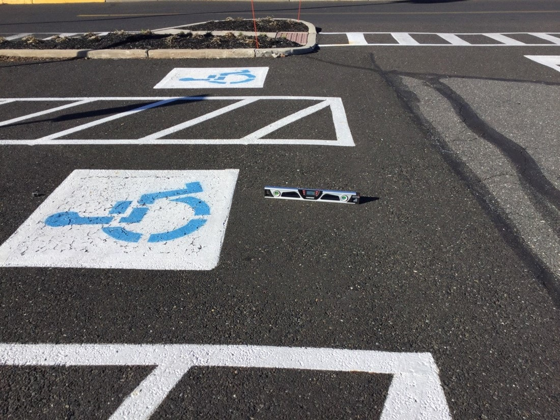 handicap parking space with too high slope