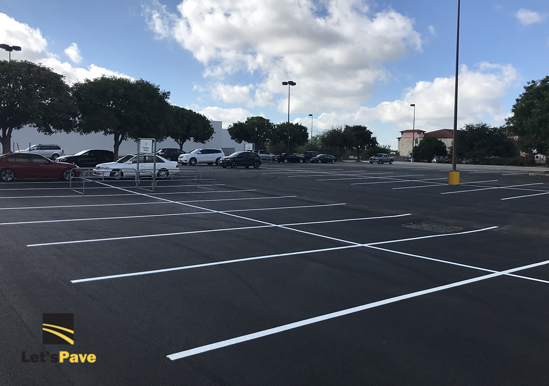 Parking lot after resurface