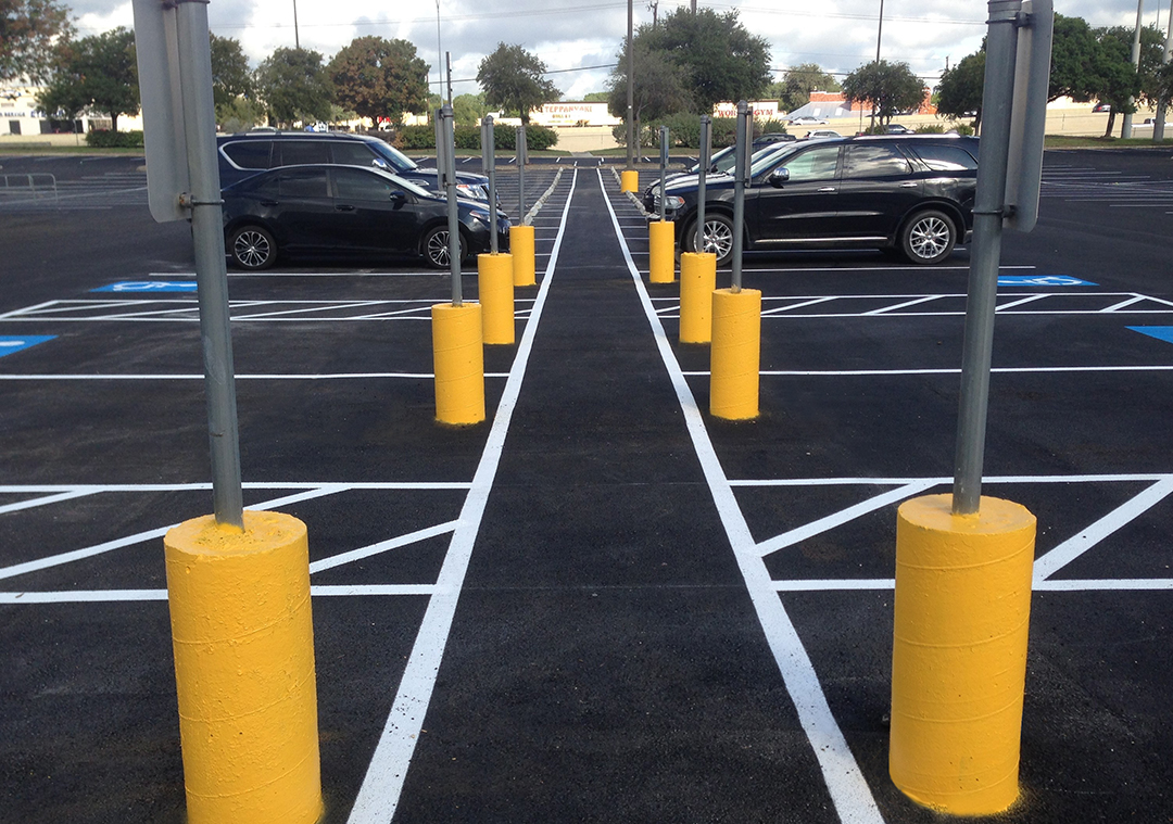 finished parking lot with required ADA markings