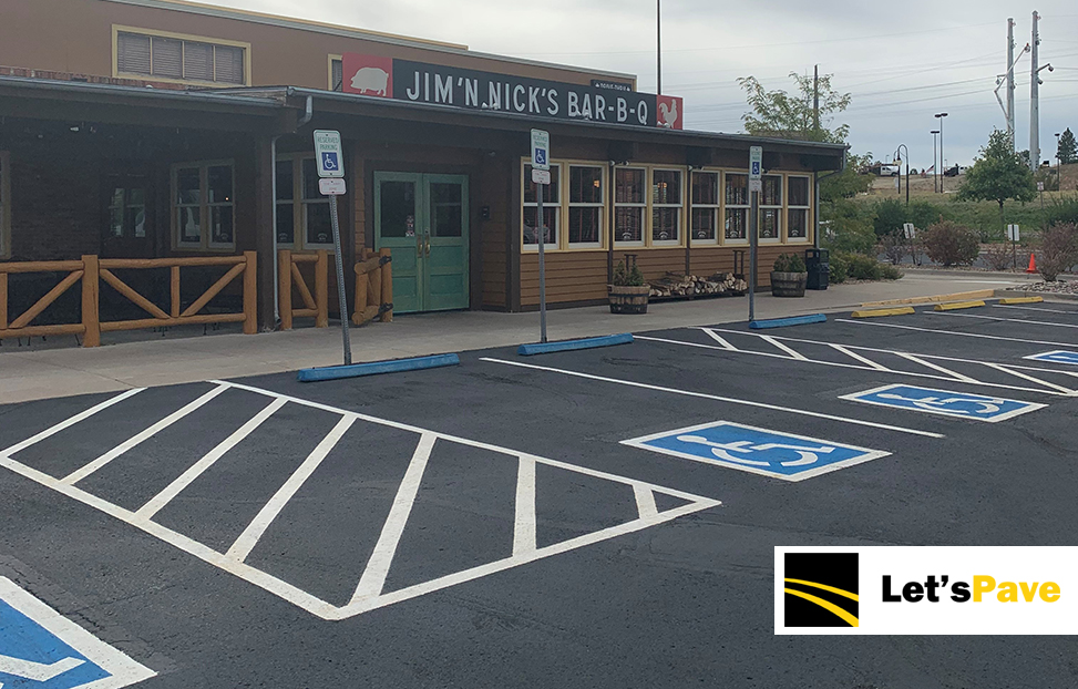 Jim 'N Nick's Bar -B - Q finished parking lots with new parking lines and fresh asphalt