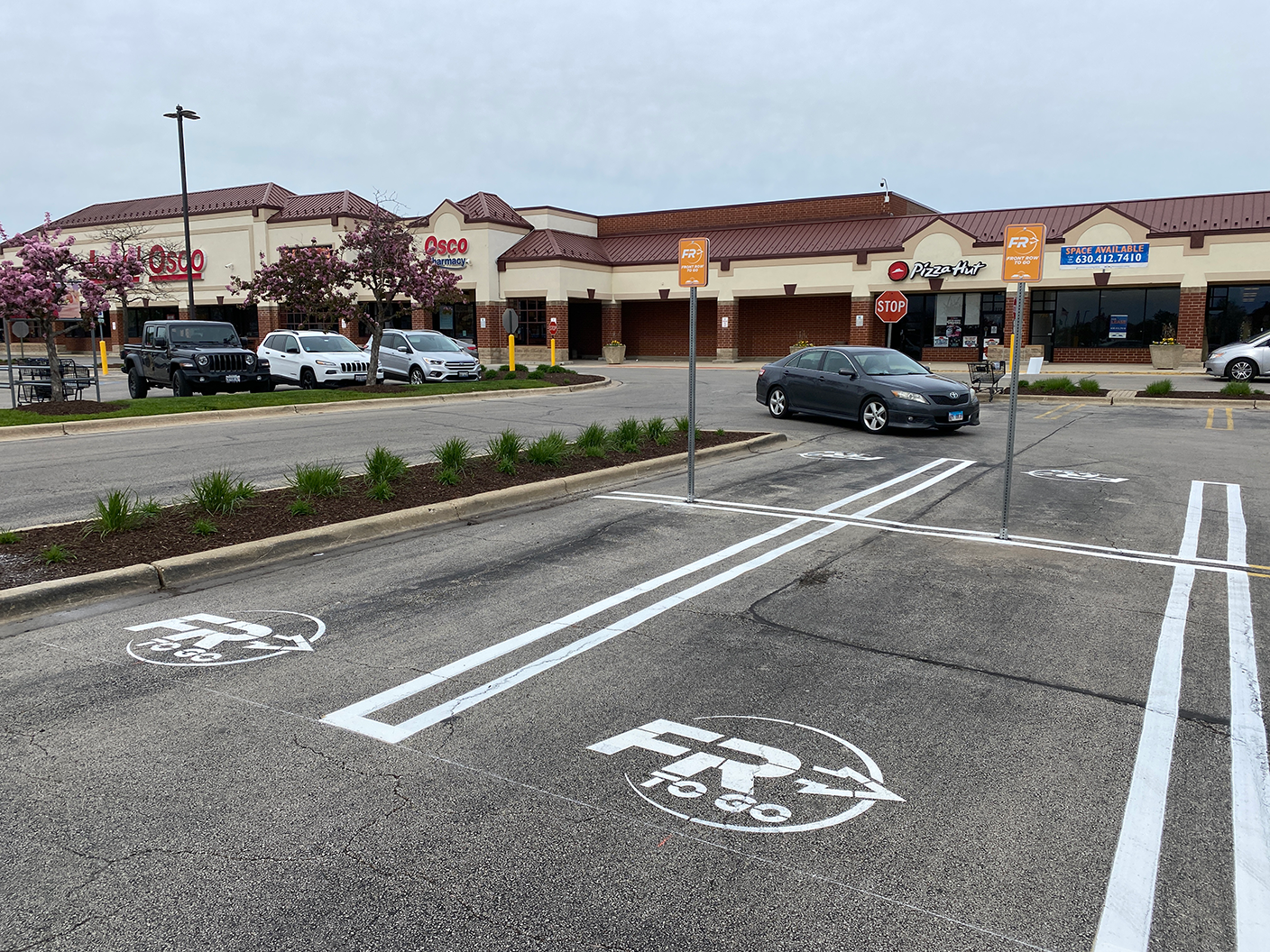 fresh striping for curbside parking