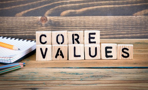 Core Values spelled out with blocks