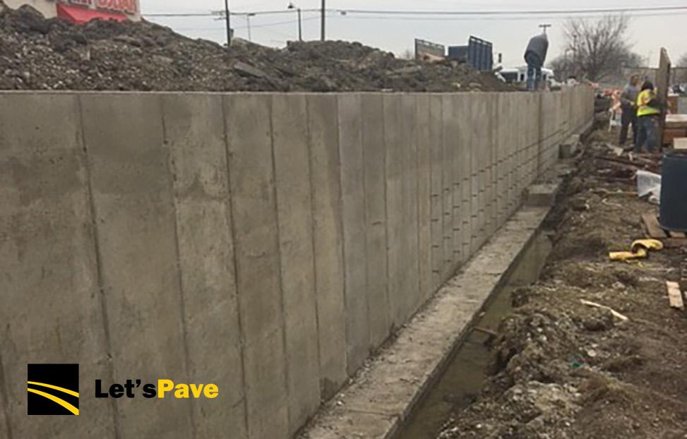retaining wall project in progress